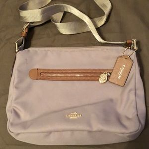 Coach brown canvas cross body